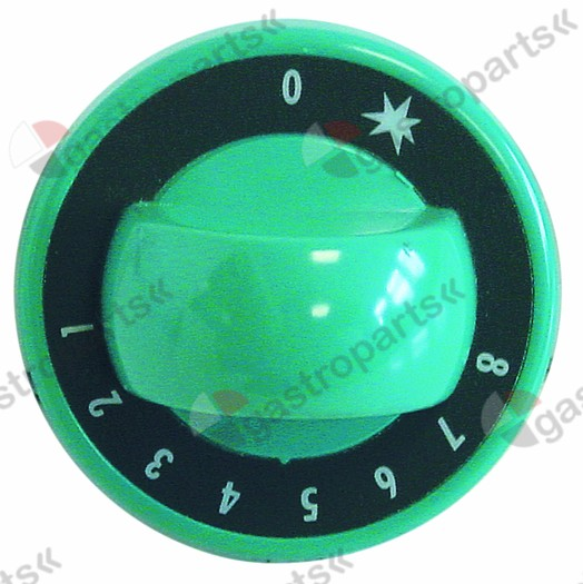 110.759, Replaced by 112205 / 112662 / knob gas thermostat 1-8 ø 70mm shaft ø 8x6.5mmshaft flat upper green