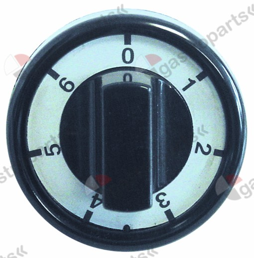 110.769, Replaced by 111465 / knob switch 7-position ø 76mm shaft ø 6x4.6mmshaft flat upper black
