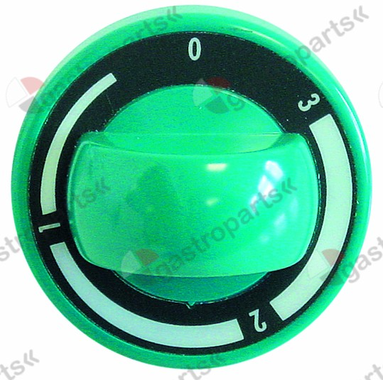 110.791, knob energy regulator 1-3 ø 70mm shaft ø 6x4.6mm shaft flat upper green