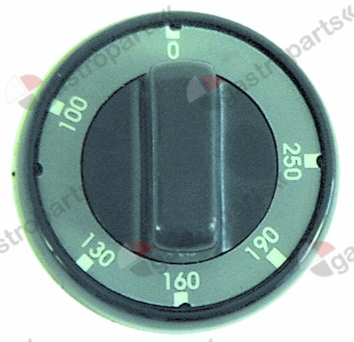 110.814, knob thermostat t.max. 250°C 100-250°C ø 75mm shaft ø 6x4.6mm shaft flat upper black