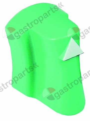 110.917, knob switch zero mark ø 34mm shaft ø 6x6mm shaft flat rectangular green