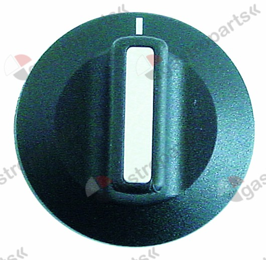 110.932, knob switch zero mark ø 42mm shaft ø 6x4.6mm shaft flat upper black