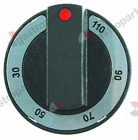 110.954, Replaced by 112311 / 112173 / 110545 / knob thermostat t.max. 110°C ø 65mmshaft ø 6x4.6mm shaft flat upper black