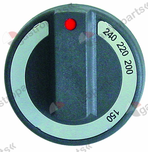 110.964, No longer available / knob thermostat t.max. 240°C ø 77mmshaft ø 6x4.6mm shaft flat upper black
