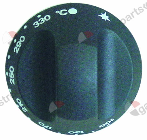 110.996, knob thermostat t.max. 330°C ø 67mm shaft ø 10x8mm shaft flat upper black temperature range 100-330°C