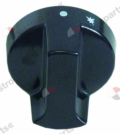 111.505, No longer available / knob gas tap with ignition flame ø 60mmshaft ø 10x8mm shaft flat upper black