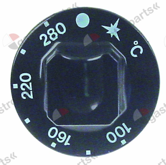 111.623, knob gas thermostat t.max. 280°C ø 55mm shaft ø 10x8mm shaft flat upper black