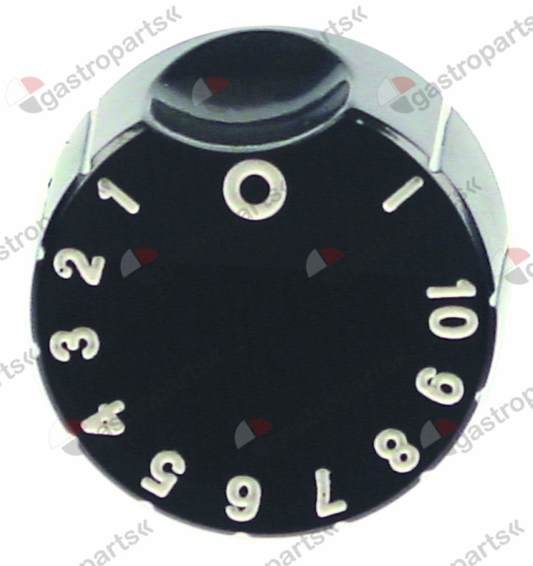 111.629, No longer available / knob energyregulator 1-10 + MAX ø 50mmshaft ø 6x4.6mm shaft flat lower black