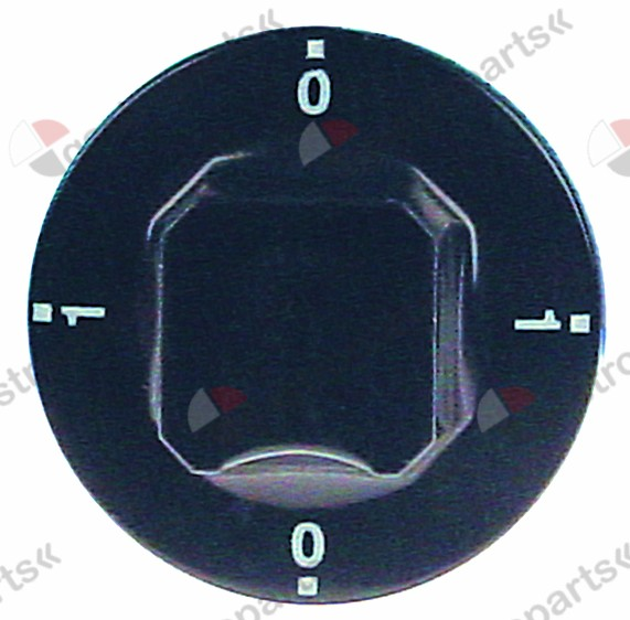 111.651, knob switch 0-1-0-1 ø 55mm shaft ø 6x4.6mm shaft flat upper black