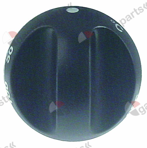 111.695, knob thermostat t.max. 300°C ø 55mm shaft ø 6x4.6mm shaft flat upper black