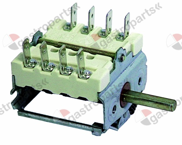 300.002, operation switch 2 operating positions 4NO sequence 0-1 16A shaft ø 6x4.6mm shaft L 23mm
