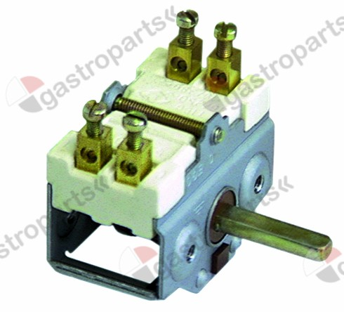 300.020, operation switch 4 operating positions 2NO sequence 0-1-0-1 16A shaft ø 6x4.6mm shaft L 23mm