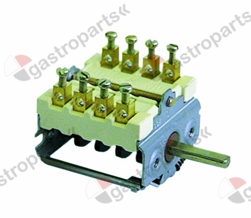 300.021, operation switch 4 operating positions 4NO sequence 0-1-0-1 16A shaft ø 6x4.6mm shaft L 23mm