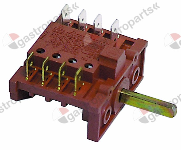 300.044, operation switch 2 operating positions 4NO sequence 0-1 16A shaft ø 6x4.6mm shaft L 23mm