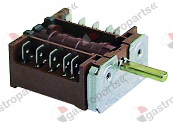 300.067, operation switch 3 operating positions 4NO sequence 0-1-2 16A shaft ø 6x4.6mm shaft L 23mm
