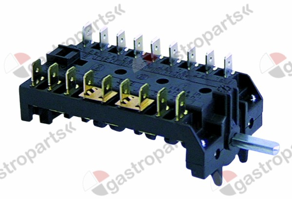 300.070, operation switch 5 operating positions 9NO sequence 0-1-2-3-4 16A shaft ø 6x4.6mm