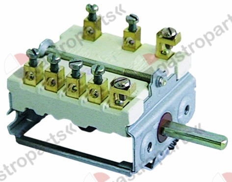 300.073, operation switch 6 operating positions 2NO/1CO sequence 0-1-2-3-4-5 16A shaft ø 6x4.6mm