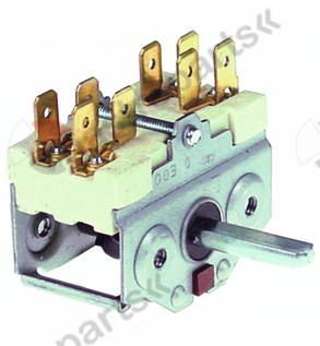 300.074, operation switch 4 operating positions 2NO sequence 0-1-0-1 16A shaft ø 6x4.6mm shaft L 23mm