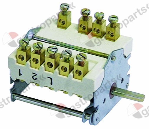 300.075, operation switch 5 operating positions 2NO/2CO sequence 0-1-2-3-4 32A shaft ø 6x4.6mm