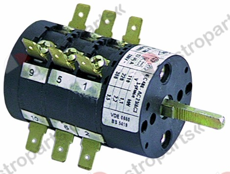 300.084, No longer available / rotary switch 12A shaft ø 5x4.5mmconnection male faston 6.3mm 6-pole