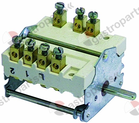 300.103, operation switch 4 operating positions 1NO/2CO sequence 0-1-2-3 32A shaft ø 6x4.6mm shaft L 23mm