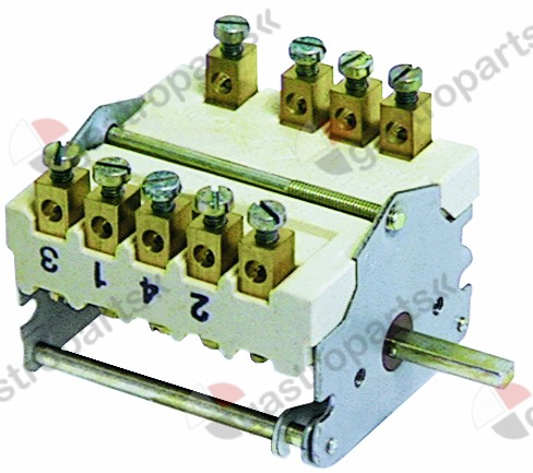 300.105, operation switch 5 operating positions 3NO/1CO sequence 0-1-2-3-4 32A shaft ø 6x4.6mm