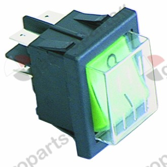 300.125, Replaced by 301003 / 301036 / rocker switch mounting measurements 30x22mm green2NO 230V 16A 0-I connection male faston 6.3mm