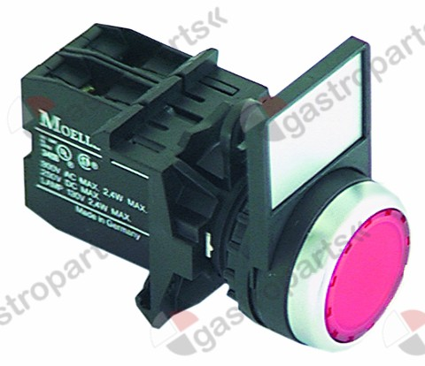 300.131, momentary push switch red illuminated, 80-264V