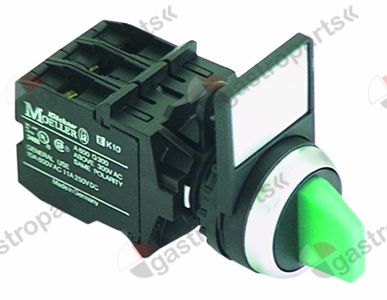 300.132, rotary switch green complete ø 22,5mm