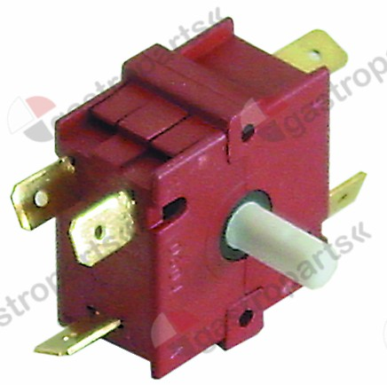300.143, operation switch 4 operating positions sequence 0-1-2-3 13A shaft ø 6x4.6mm shaft L 13mm