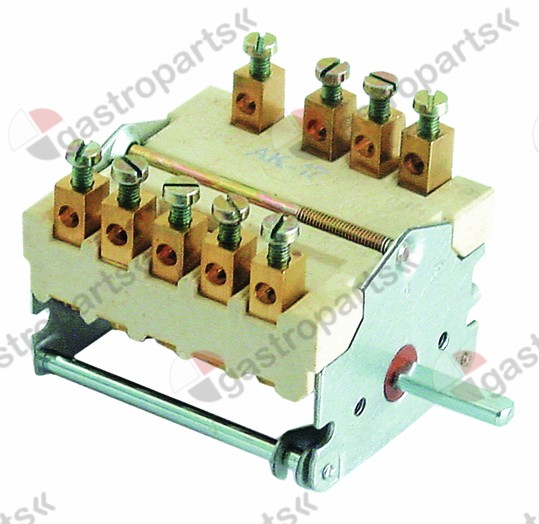300.149, operation switch 5 operating positions 2NO/2CO sequence 0-1-2-3-4 32A shaft ø 6x4.6mm