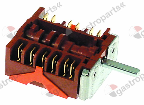 300.177, operation switch 7 operating positions 6NO sequence 0-1-2-3-4-5-6 16A shaft ø 6x4.6mm