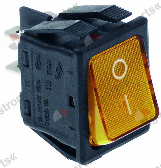 301.002, rocker switch mounting measurements 30x22mm orange 2NO 250V 16A illuminated 0-I