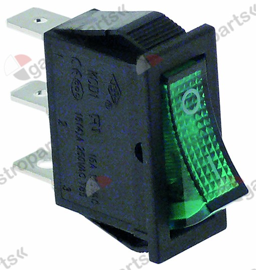 301.012, rocker switch mounting measurements 30x11mm green 1NO/indicator light 250V 16A 0-I