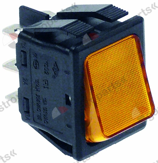301.016, rocker switch mounting measurements 30x22mm orange 2CO 250V 16A illuminated