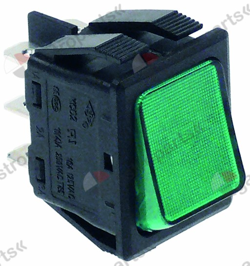 301.017, rocker switch mounting measurements 30x22mm green 2CO 250V 16A illuminated