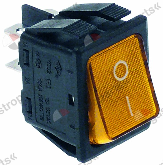 301.018, momentary rocker switch mounting measurements 30x22mm orange 2NO 250V 16A