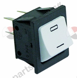 301.025, rocker switch mounting measurements 28x24mm white 2NO 230V 16A 0-I (vertical)