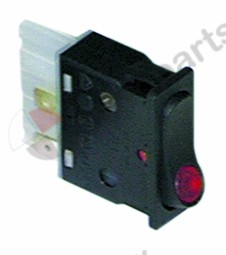 301.026, Replaced by 301139 / rocker switch mounting measurements 34.2x12.6mmred 2NO 250V 16A illuminated