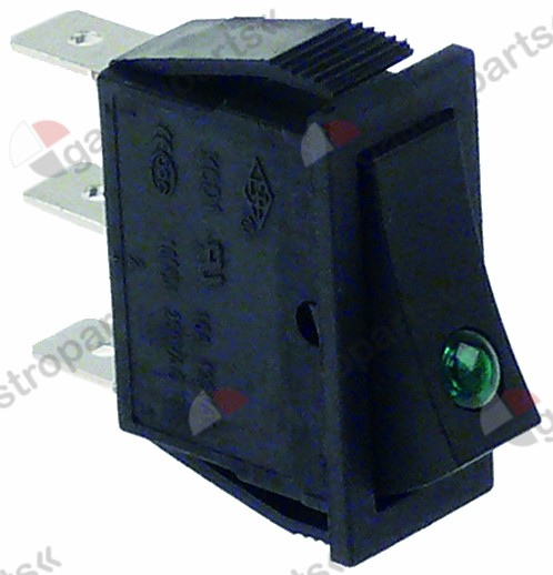 301.038, rocker switch mounting measurements 30x11mm green 1NO/indicator light 250V 16A