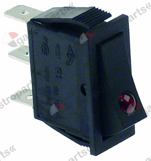301.039, rocker switch mounting measurements 30x11mm red 1NO/indicator light 250V 16A