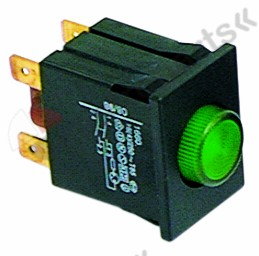 301.044, momentary push switch mounting measurements 30x22mm green 2NO 250V 16A