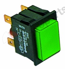 301.047, push switch mounting measurements 30x22mm green 2NO 250V 16A illuminated