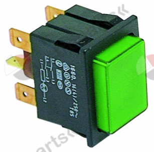301.049, push switch mounting measurements 30x22mm green 2NO/indicator light 250V 16A