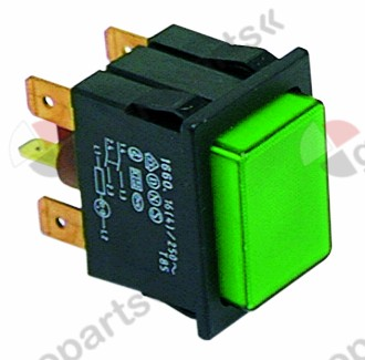 301.052, momentary push switch mounting measurements 30x22mm green