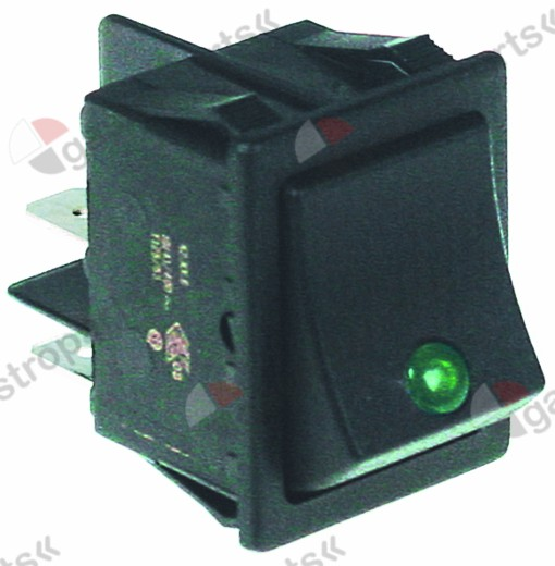 301.062, rocker switch mounting measurements 30x22mm green 2NO 250V 16A illuminated