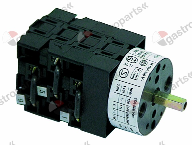 301.065, Replaced by 301045 / rotary switch 400V 16A shaft ø 5x5mmconnection screw clamp shaft squaremm