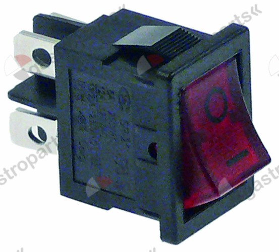 301.067, rocker switch mounting measurements 19x13mm red 2NO 250V 13A illuminated 0-I