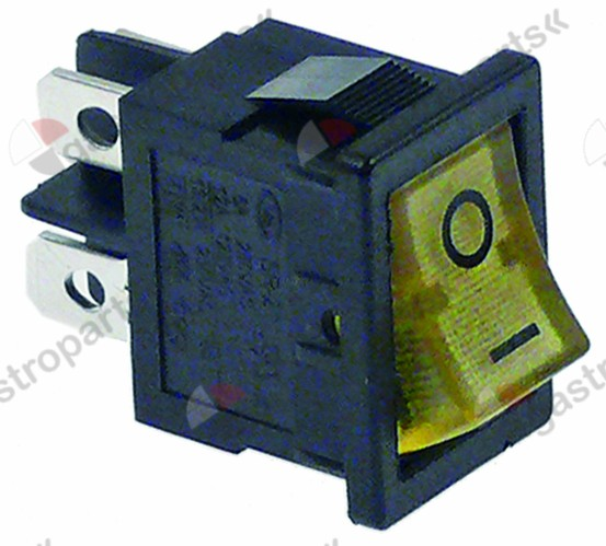 301.068, rocker switch mounting measurements 19x13mm yellow 2NO 250V 13A illuminated 0-I