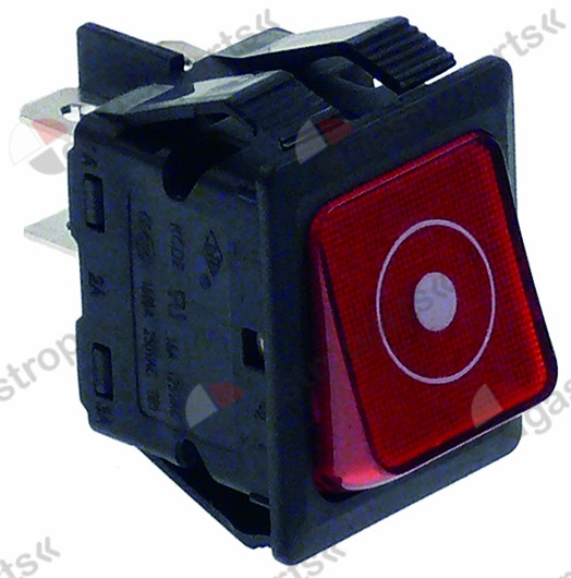 301.076, momentary rocker switch mounting measurements 30x22mm red 2NO 250V 16A